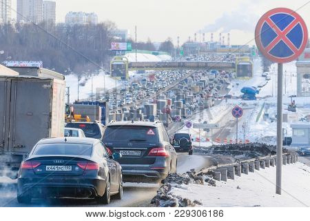 Moscow, Russia - February, 28, 2017: traffic jam in Moscow on Moscow Automobile Ring Road (MKAD) in winter