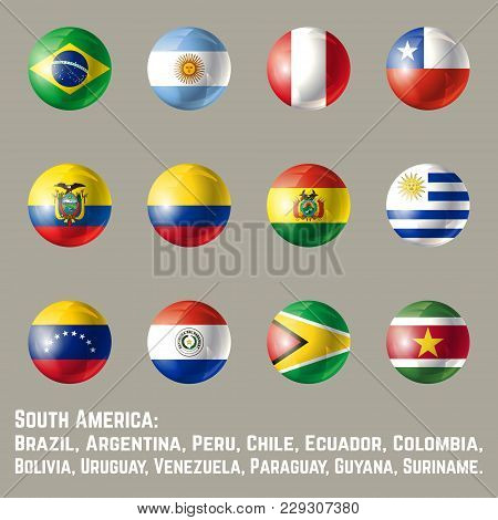 South America Flags. Glossy Round Button Flag Set. Vector Illustration.