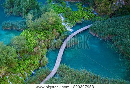 Aerial View With Walking Path In The Plitvice Lakes National Park, Croatia
