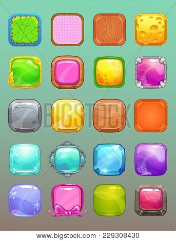Big Set Of Cartoon Colorful Square Buttons. Collection Of The Assets For Game Or Web Design.