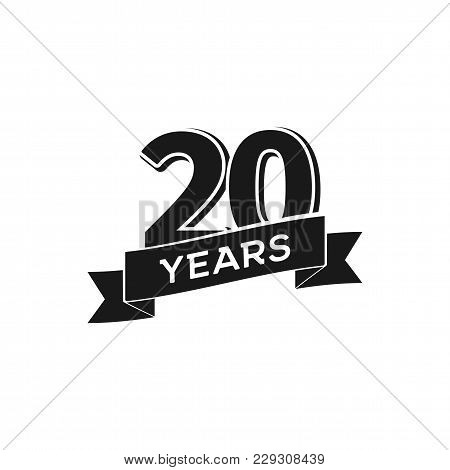 Vector 20 Years Anniversary Logotype. Isolated Black Logo 20th Jubilee On White Background