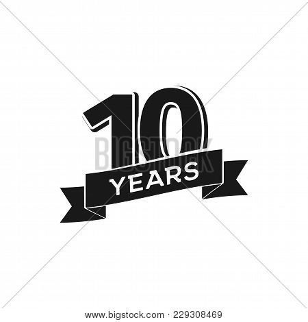 Vector 10 Years Anniversary Logotype. Isolated Black Logo 10th Jubilee On White Background