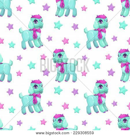 Cute Girlish Seamless Pattern With Pretty Little Baby Goat And Stars On White Background.