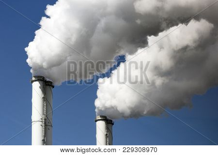 Air Pollution From Two Power Plant Chimneys