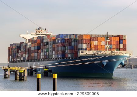 Rotterdam, Netherlands - Sep 8, 2012: Container Ship Moored In The Port Of Rotterdam