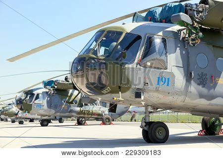 Berlin, Germany - May 21, 2014: Czech Air Force Mi-171sh Helicopters On Display At The International