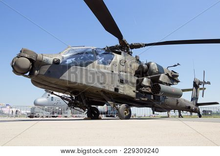 Berlin, Germany - May 22, 2014: Us Army Boeing Ah-64d Apache Longbow Attack Helicopter At The Intern