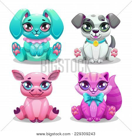 Little Cute Cartoon Animals Set. Virtual Pets Design. Bunny, Puppy, Pig And Kitten Characters. Isola