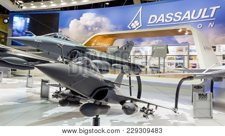Paris-le Bourget - Jun 18, 2015: Mock-up Planes At A Stand Of The French Aircraft Manufacturer Dassa