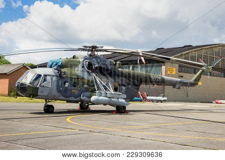 Beauvechain, Belgium - May 20, 2015: Russian-made Czech Air Force Mil Mi-171 Hip Attack And Cargo He