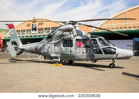 Marrakech, Morocco - Apr 28, 2016: Royal Moroccan Navy Eurocopter As565 Panther Helicopter On Displa