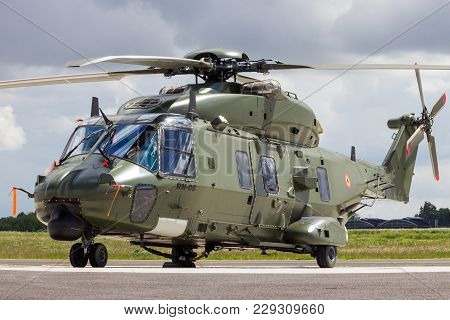 Beauvechain, Belgium - May 20, 2015: New Belgian Army Nh90 Helicopter On The Homebase Beauvechain Ai