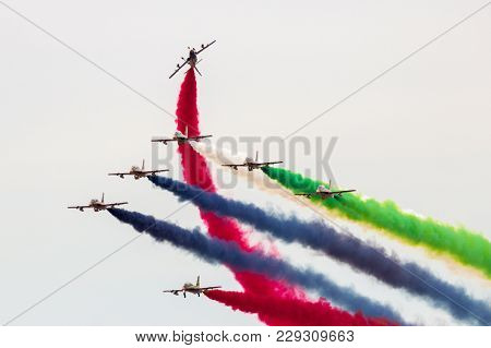 Marrakech, Morocco - Apr 28, 2016: Uae Aerobatic Team Al Fursan (fursan Al Emarat) Performing At The