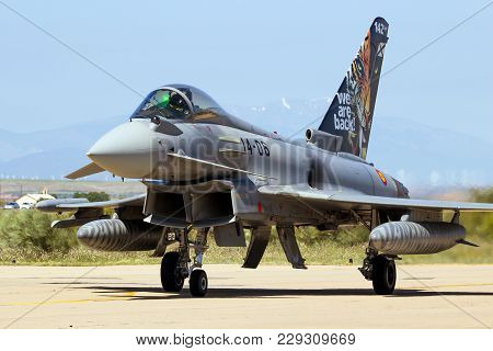 Zaragoza, Spain - May 20,2016: Spanish Air Force Eurofighter Typhoon Fighter Jet Plane Taxiing On Za