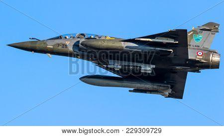 Leeuwarden, Netherlands - Mar 28, 2017: French Air Force Dassault Mirage 2000 Fighter Jet Plane In F