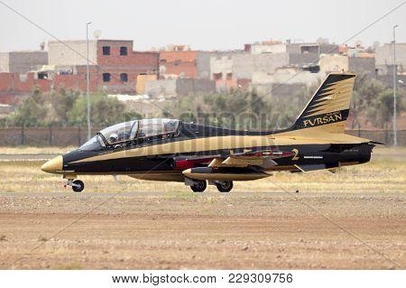 Marrakech, Morocco - Apr 28, 2016: Uae Aerobatic Team Al Fursan (fursan Al Emarat) Mb339 Jet Plane P