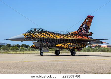 Zaragoza, Spain - May 20,2016: Special Painted Turkish Air Force F-16 Fighter Jet Plane Taxiing On Z