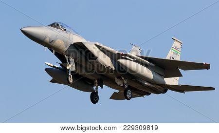 Leeuwarden, Netherlands - Apr 5, 2017: Louisiana Based Us Air Force Mcdonnell Douglas F-15c Eagle Fi