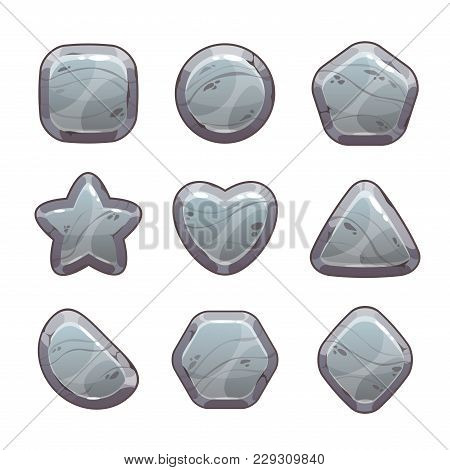 Cartoon Grey Stone Assets For Web Or Game Design. Rock Signs Set, Vector Icons Isolated On White Bac