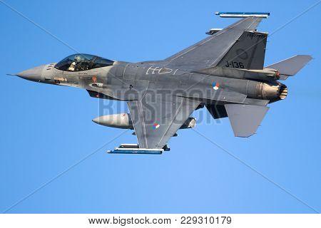 Leeuwarden, The Netherlands - Mrt 28, 2017: Royal Netherlands Air Force F-16 Fighter Jet Plane Takin