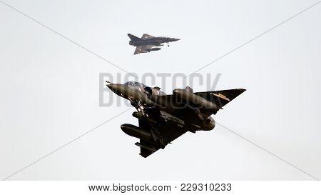 Leeuwarden, Netherlands - Mar 28, 2017: French Air Force Dassault Mirage 2000 Fighter Jet Planes Abo