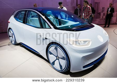 Frankfurt, Germany - Sep 13, 2017: 2020 Volkswagen Id Concept Autonomous Electric Car Shown At The F