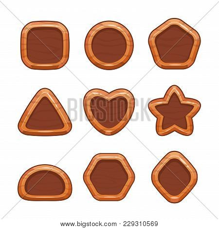 Cartoon Wooden Buttons Set. Vector Wood Shapes Icons, Isolated Game Assets On White Background.