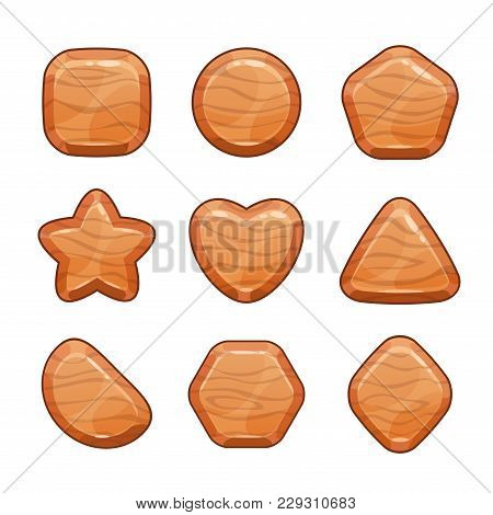 Cartoon Wooden Shapes Set. Vector Icons, Isolated Game Assets On White Background.