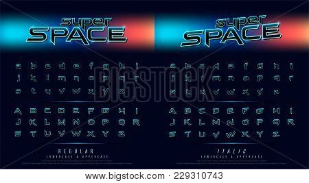 Hi Tech Techno Font Future Movie Style. Metal Chrome Effect Alphabet Letters Design For Poster, Bann