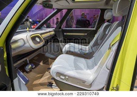Frankfurt, Germany - Sep 12, 2017: Interior Of The New Volkswagen I.d. Buzz Electric Self-driving Ca