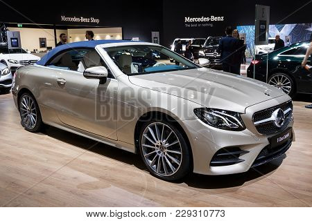 Brussels - Jan 10, 2018: Mercedes Benz E-class Cabriolet Car Showcased At The Brussels Motor Show.