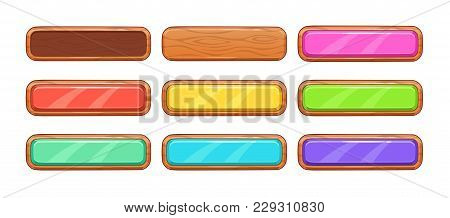 Cartoon Wooden Long Horizontal Buttons Set. Vector Icons, Isolated Game Assets On White Background.