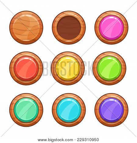 Cartoon Wooden Buttons Set. Vector Wood Shapes Icons, Isolated Game Assets On White Background