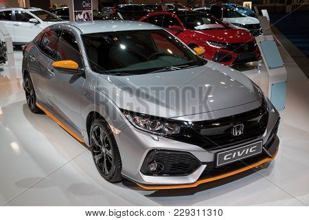 Brussels - Jan 10, 2018: Honda Civic Car Showcased At The Brussels Motor Show.