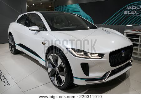 Brussels - Jan 10, 2018: 2018 Jaguar I-pace Electric Suv Car Showcased At The Brussels Motor Show.