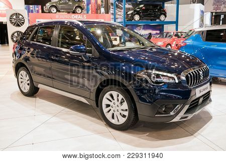 Brussels - Jan 10, 2018: Suzuki S-cross Crossover Suv Car Shown At The Brussels Motor Show.