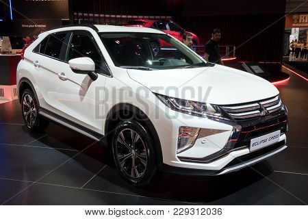 Brussels - Jan 10, 2018: New Mitsubishi Eclipse Cross Sport Compact Car Shown At The Brussels Motor