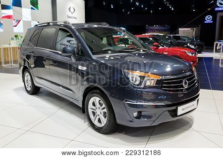 Brussels - Jan 10, 2018: Ssangyong Rodius Mpv Car Showcased At The Brussels Motor Show.