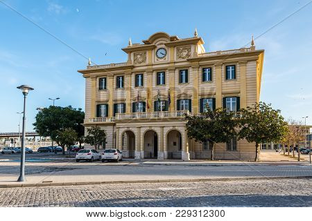 Malaga, Spain - December 7, 2016: Historic Port Authority Office Building Eclectic Classicist Style