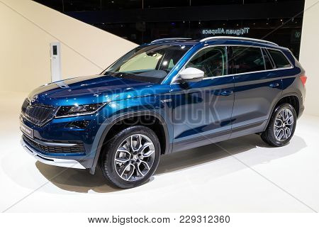 Brussels - Jan 10, 2018: New Skoda Kodiaq Scout Suv Car Shown At The Brussels Motor Show.