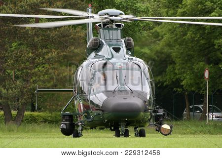Bonn, Germany - May 22, 2010: German Border Patrol Ec-155 Helicopter Of The Bundesgrenzschutz Taking