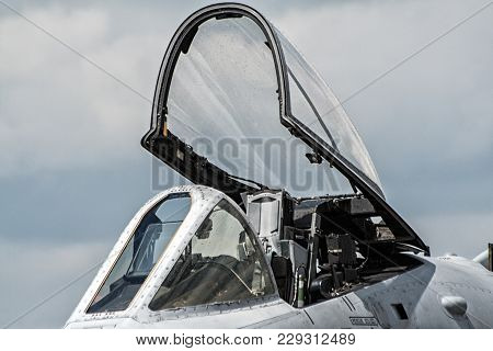 Military Fighter Jet Cockpit Canopy Close Up.