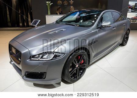 Brussels - Jan 10, 2018: Jaguar Xjr 575 Luxury Saloon Car Shown At The Brussels Motor Show.