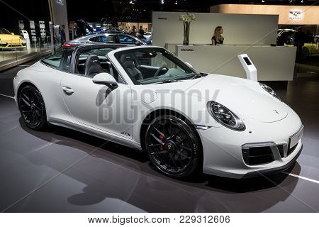 Brussels - Jan 10, 2018: Porsche 911 Gts Sports Car Shown At The Brussels Motor Show.