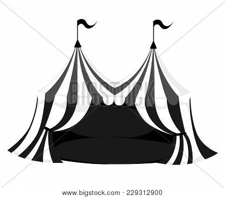 Silhouette Of Circus Or Carnival Tent With Flags And Red Floor Vector Illustration On White Backgrou