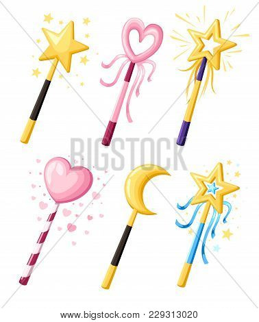 Set Of Cute Decorative Magic Wands In Various Shapes. Magical Girl Cartoon Power Concept. Vector Ill