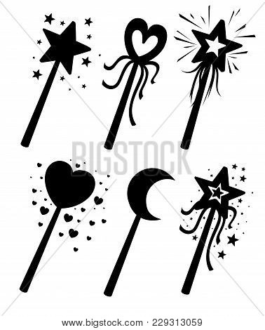 Set Of Black Silhouettes. Decorative Magic Wands In Various Shapes. Magical Girl Cartoon Power Conce