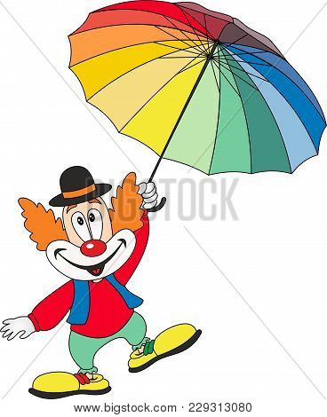 Cartoon Funny Clown Holding An Umbrella. Vector On White Background