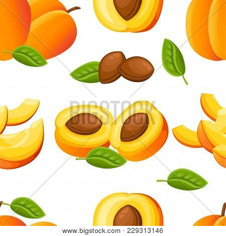 Seamless Pattern Of Peach And Slices Of Peaches. Vector Illustration For Decorative Poster, Emblem N