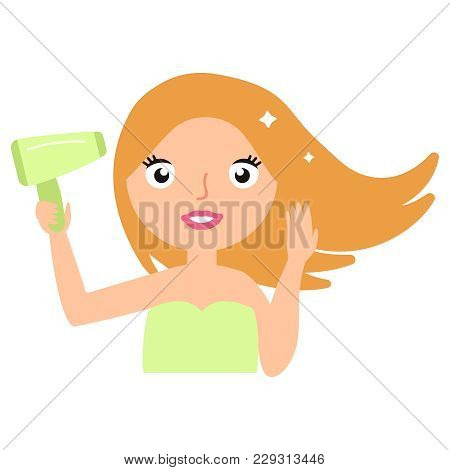 Hair Care. Beautiful Smiling Woman Drying Healthy Long Straight Hair Using Hair Dryer. Portrait Of A